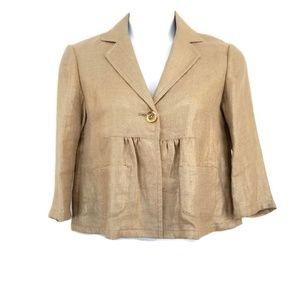 Michael Michael Kors Metallic Gold Linen Jacket